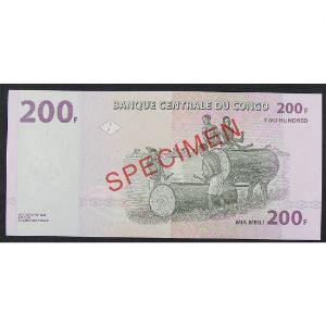 Rép. Dém. du Congo, 200 Francs 31.07.2007, Spécimen, UNC