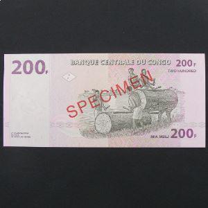 Rép.Dém. du Congo, SPECIMEN 200 Francs 31.7.2007, UNC