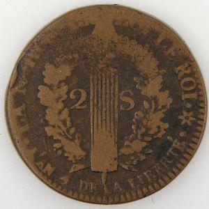 Révolution Française, Constitution, 2 Sols 1792 BB type Français, Gad: 24, B/TB