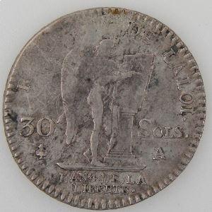 Révolution Française, Constitution, 30 Sols 1792 A, Gad: 39, TB+