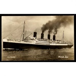 S.S. FRANCE -  FRENCH LINE - THE LONGEST GANGPLANK IN THE WORLD
