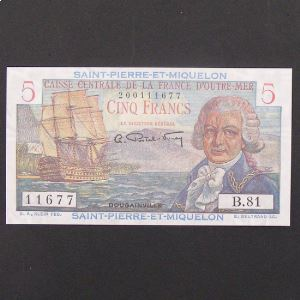 Saint Pierre et Miquelon, 5 Francs ND 1950-1960, UNC