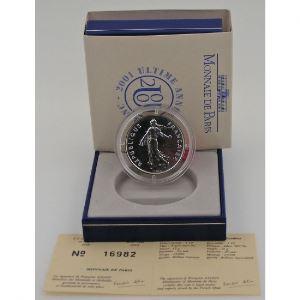 Semeuse, 5 Francs 2001 FDC, BU argent, KM#1309