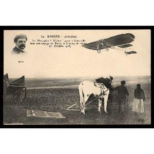 Sports - AVIATION - Le Monoplan BLERIOT passe à Senonville dans son Voyage de Toury à Artenay et retour