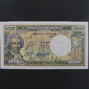 Tahiti, Papeete, 5000 Francs ND, UNC-