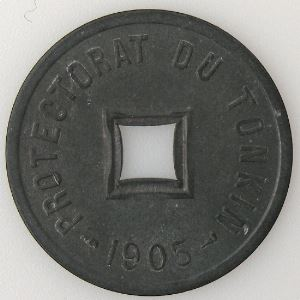 Tonkin, 1/600ème de Piastre 1905, SUP, KM #1
