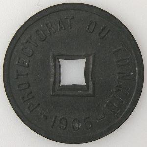 Tonkin, 1/600ème de Piastre 1905 , SUP, KM#1