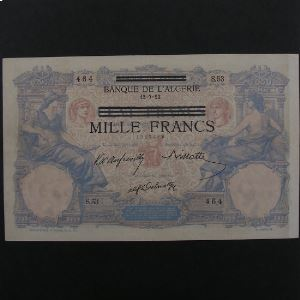 Tunisie, 1000 Francs ND 1942-43, VF+